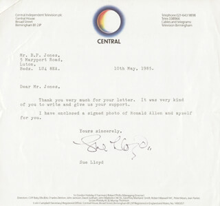SUE LLOYD - TYPED LETTER SIGNED 05/10/1985
