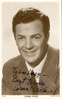 CORNEL WILDE - INSCRIBED PRINTED PHOTOGRAPH SIGNED IN INK