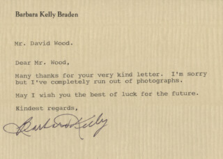 BARBARA KELLY - TYPED LETTER SIGNED