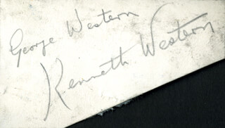 KENNETH WESTERN - CLIPPED SIGNATURE CO-SIGNED BY: GEORGE WESTERN