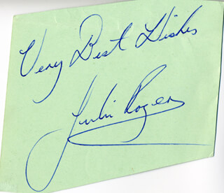 JULIE ROGERS - AUTOGRAPH SENTIMENT SIGNED