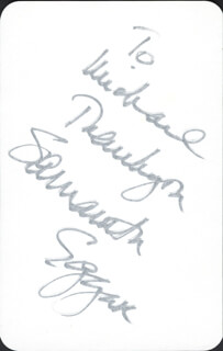 SAMANTHA EGGAR - INSCRIBED SIGNATURE