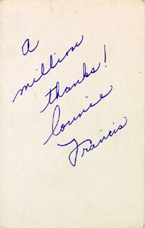 CONNIE FRANCIS - PICTURE POST CARD SIGNED