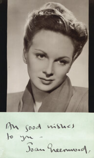 JOAN GREENWOOD - AUTOGRAPH SENTIMENT SIGNED