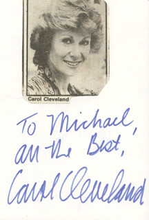 CAROL CLEVELAND - AUTOGRAPH NOTE SIGNED