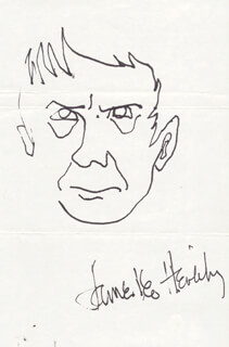 Autographs: JAMES LEO HERLIHY - SELF-CARICATURE SIGNED