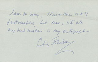CELIA JOHNSON - AUTOGRAPH NOTE SIGNED CIRCA 1982