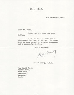ROBERT HARDY - TYPED LETTER SIGNED 12/14/1981