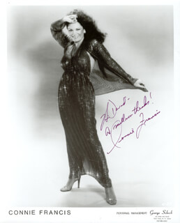 CONNIE FRANCIS - INSCRIBED PRINTED PHOTOGRAPH SIGNED IN INK