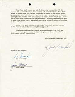 Autographs: JUDY GARLAND - CONTRACT SIGNED 09/06/1961 CO-SIGNED BY: SIDNEY BERNSTEIN, JOHN DREW