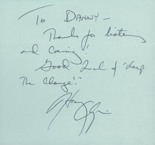 Autographs: HARRY CHAPIN - AUTOGRAPH NOTE SIGNED