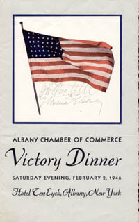BRIGADIER GENERAL JAMES H. JIMMY DOOLITTLE - MENU SIGNED CIRCA 1946 CO-SIGNED BY: GOVERNOR THOMAS E. DEWEY