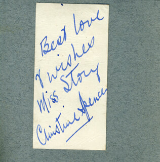 CHRISTINE SPENCER - AUTOGRAPH NOTE SIGNED