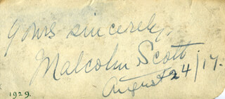 MALCOLM SCOTT - AUTOGRAPH SENTIMENT SIGNED 08/24/1917