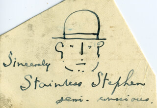 STAINLESS STEPHEN (ARTHUR CLIFFORD BAYNES) - SELF-CARICATURE SIGNED