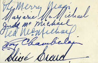 THE MERRY MACS - AUTOGRAPH CO-SIGNED BY: THE MERRY MACS (MARJORIE McMICHAEL), THE MERRY MACS (JUDD McMICHAEL), THE MERRY MACS (TED McMICHAEL), ROY CHAMBERLAIN, THE MERRY MACS (CLIVE ERARD)