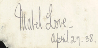 MABEL LOVE - AUTOGRAPH 04/27/1938