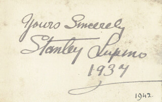 STANLEY LUPINO - AUTOGRAPH SENTIMENT SIGNED 1937