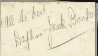 Autographs: JACK BARKER - INSCRIBED SIGNATURE