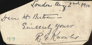 RICHARD GEORGE KNOWLES - AUTOGRAPH NOTE SIGNED 08/02/1910