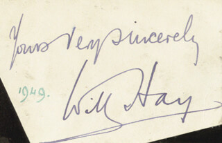 WILL HAY - AUTOGRAPH SENTIMENT SIGNED