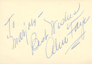 ALICE FAYE - AUTOGRAPH NOTE SIGNED