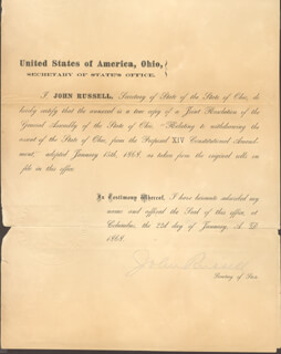 JOHN RUSSELL - DOCUMENT SIGNED 01/22/1868