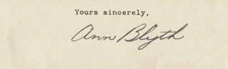 ANN BLYTH - TYPED SENTIMENT SIGNED