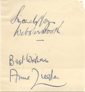 ZIEGLER & BOOTH (WEBSTER BOOTH) - AUTOGRAPH SENTIMENT SIGNED CO-SIGNED BY: ZIEGLER & BOOTH (ANNE ZIEGLER)