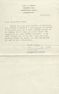 MARGHANITA LASKI - TYPED LETTER SIGNED 02/11/1953