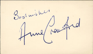 ANNE CRAWFORD - AUTOGRAPH SENTIMENT SIGNED