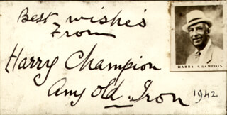 HARRY CHAMPION - AUTOGRAPH SENTIMENT SIGNED