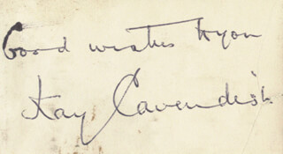 KAY CAVENDISH - AUTOGRAPH SENTIMENT SIGNED