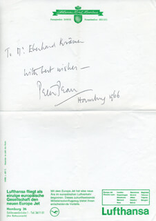 SIR PETER PEARS - AUTOGRAPH NOTE SIGNED 1966