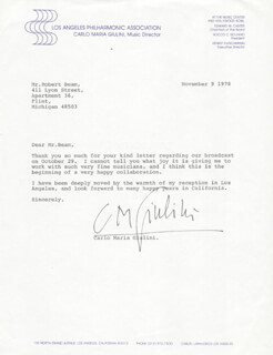 CARLO MARIA GIULINI - TYPED LETTER SIGNED 11/09/1978