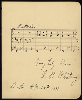 Autographs: SAMUEL B. WHITNEY - AUTOGRAPH MUSICAL QUOTATION SIGNED 04/26/1890 CO-SIGNED BY: MAY IRWIN