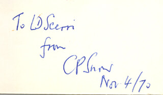 CHARLES P. SNOW - AUTOGRAPH NOTE SIGNED 11/04/1970