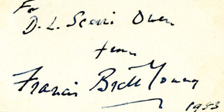 FRANCIS BRETT YOUNG - INSCRIBED SIGNATURE 1953