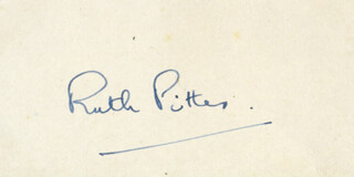 RUTH PITTER - AUTOGRAPH