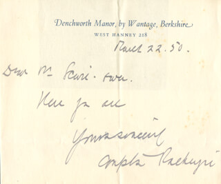 COMPTON MacKENZIE - AUTOGRAPH NOTE SIGNED 03/22/1950