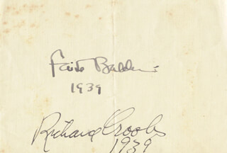 FAITH BALDWIN - AUTOGRAPH 1939 CO-SIGNED BY: RICHARD CROOKS