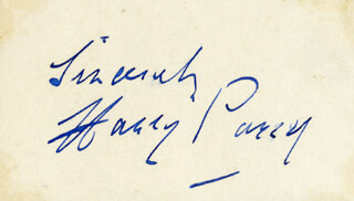 HARRY PARRY - AUTOGRAPH SENTIMENT SIGNED