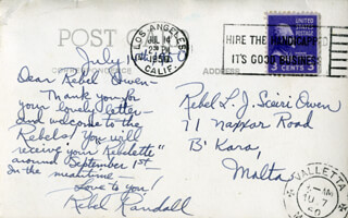 REBEL RANDALL - AUTOGRAPH LETTER SIGNED CIRCA 1950