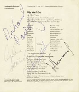 RICHARD CASSILLY - PROGRAM SIGNED CIRCA 1972 CO-SIGNED BY: BERIT LINDHOLM, ARLENE SAUNDERS, JEF VERMEERSCH