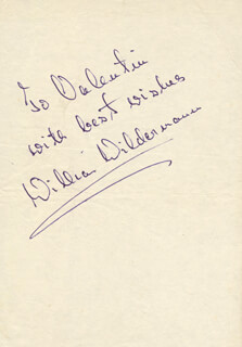 WILLIAM WILDERMANN - INSCRIBED SIGNATURE