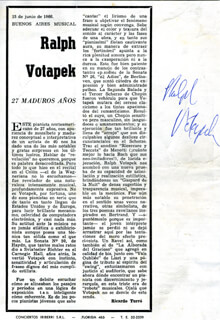 RALPH VOTAPEK - MAGAZINE PAGE SIGNED