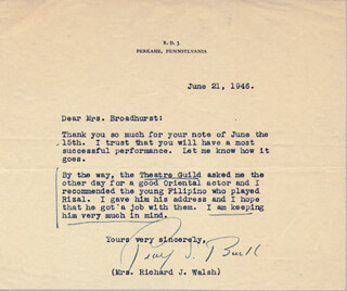 Autographs: PEARL S. BUCK - TYPED LETTER SIGNED 06/21/1946