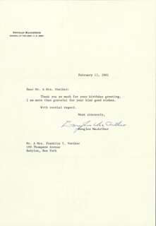GENERAL DOUGLAS MACARTHUR - TYPED LETTER SIGNED 02/13/1961