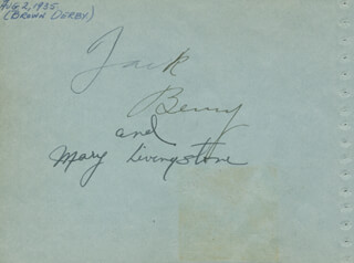 JACK BENNY - AUTOGRAPH CIRCA 1935 CO-SIGNED BY: MARY (MRS. JACK BENNY) LIVINGSTONE, JOAN CRAWFORD