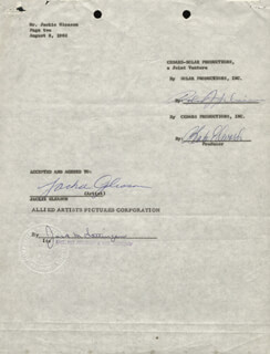 JACKIE THE GREAT ONE GLEASON - CONTRACT SIGNED 08/08/1962 CO-SIGNED BY: BLAKE EDWARDS